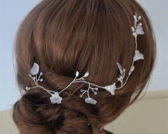 Bridal hair vine,  silver or gold hair vine, flower hair vine, leaf vine, bridal hair piece, wedding headpiece
