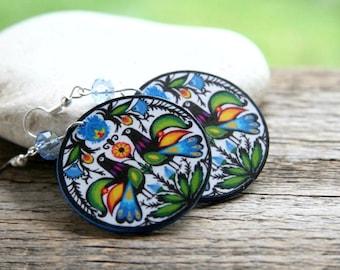 Polish folk earrings, flower earrings, polish earrings, polish cutout, boho, folk jewelry, blue earrings, bird earrings