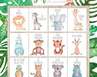 Nursery Printables Set Of 12 Safari Nursery Wall Art Decor Animal Paintings Childrens  Wall Art Watercolor