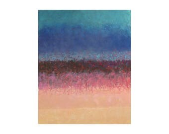 Pink blue blush abstract seascape painting Pastel Contemporary turquoise Original Modern Artwork wall art Home Vertical Gift for women girl