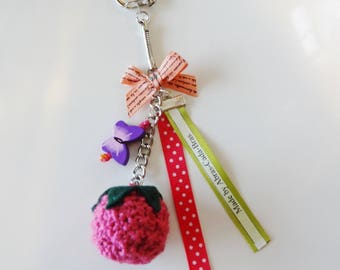 Keychain / bag raspberry shaped charm