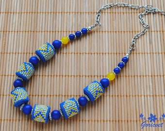 Blue necklace embroidered jewelry gift for women Cobalt blue lapis lazuli necklace gemstone boho jewelry Fabric necklace blue gift for wife