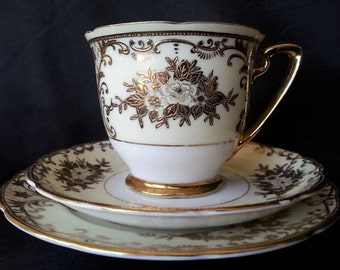 Vintage Meito China Trio Set, Meito China Foreign Pattern, Meito Hand Painted China, Tea Cup Saucer and Small Plate