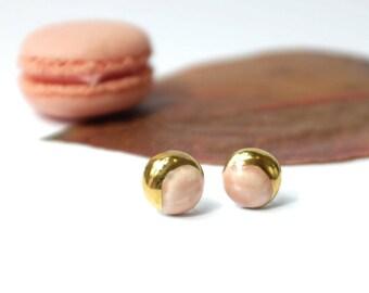 Pink Earrings, handmade jewelry, stud earrings silver, earrings handmade, sterling silver, porcelain earrings, earrings for her.