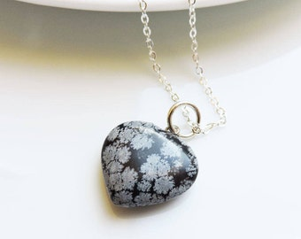 Snowflake Obsidian Heart Shaped Gemstone Pendant on silver necklace - Black, Grey & white puffed heart charm pendant, black spotted heart