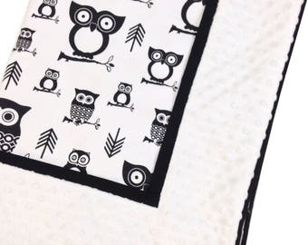 Crib Blanket Black Owls