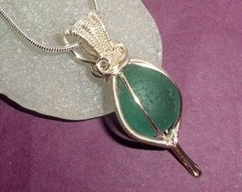 Beautiful Aqua Sea Glass Necklace