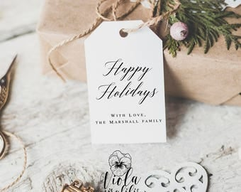 Happy Holidays tags printable Happy Holidays gift tags template Gift tags personalized Christmas Gift tags holiday Gift tags editable pdf