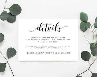 Wedding details template Wedding details printable Enclosure card templates Details card template Wedding information card template #vm31