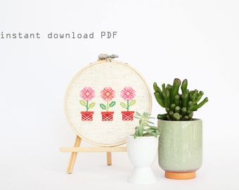 Potted Flowers - Easy DIY Counted Cross Stitch Pattern