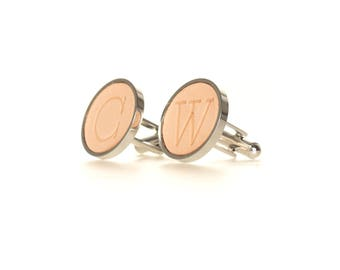 Wedding Cufflinks / Gift for Groom / Personalized with Initials / Natural Leather / Custom Leather Cufflinks / Gift for Husband