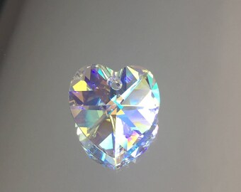 Swarovski Crystal Heart Bead - Clear AB Heart Pendant BEAUTIFUL! 18x17mm - Sold Individually