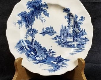 Delft Blue Old Mill Design, Johnson Brothers English China, 6 Inch Dish, Old English Transfer ware, Rare Blue Old Mill