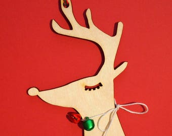 Deer with lashes christmas ornaments