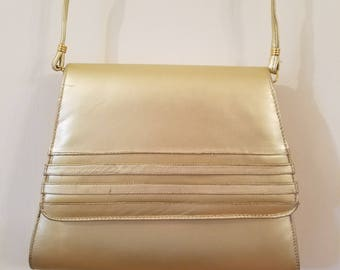 Very Pretty Gold Vintage 1970s Messenger Bag Cross Body Purse by J. Renee
