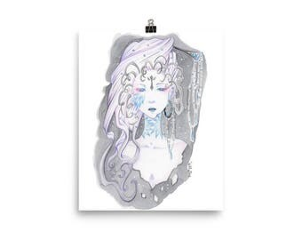 Poster Black Queen Watercolor Painting WInsor and Newton Manga Anime