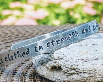 Faith Jewelry, Quote Bangles, Stamped Bracelet, Word Bracelet, Phrase Jewelry, Gift for Christian, Mom, Custom Bracelet, Christian Gifts