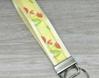 Keychain wristlet, Strawberry lanyard keychain, Strawberry key chain, Wristlet keychain, Strawberry key ring, Yellow/Red/Green