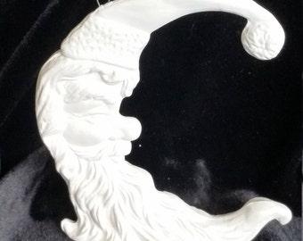 Santa Moon Ornament - Unpainted Ceramic Bisque, Ready to Paint, DIY,