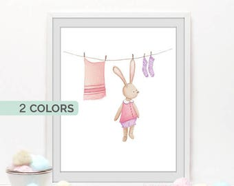 Baby nursery wall art, Bunny prints, Woodland nursery decor, Watercolor bunny nursery Illustration