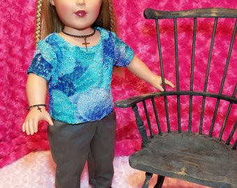 Tie Dye Lace Shirt and Grey Pants with Cross Jewelry Outfit - American Girl & Friends