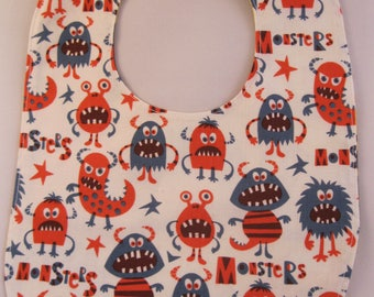 Bird Portrait and Monsters Reversible Bib FREE SHIPPING
