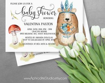 Woodland baby shower invitations - Bear baby shower invitations - Forest animals baby shower invitations - Printable baby shower invitations