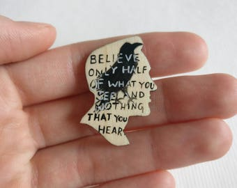 Edgar Allan Poe - The Raven. Book quote brooch