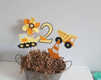 construction birthday party * construction centerpieces * construction party decorations * construction party * dump truck * excavator