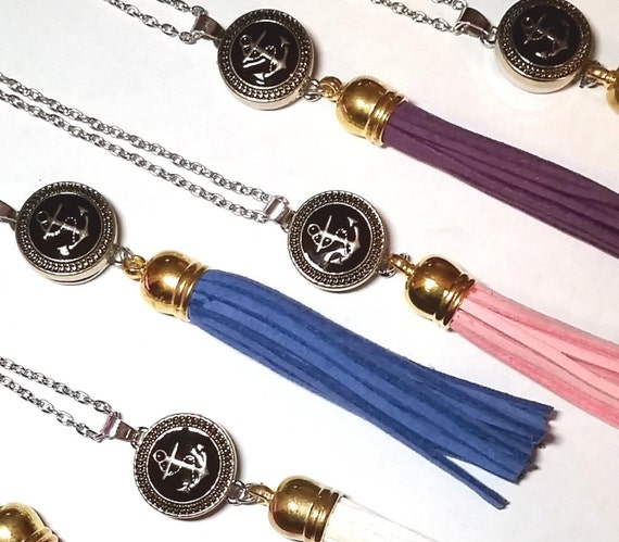 WHOLESALE- Nautical Leather Tassel Necklace, Silver & Gold