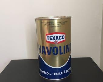 Texaco Havoline FULL Vintage Oil Can Petroliana Man Cave