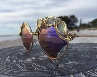 Huge OPALS Purple Reflective Sunglasses Women l Artisan Gemstone Sunglasses l Spunglasses l Unique Bold Sun glasses Eyewea l FREE Shipping