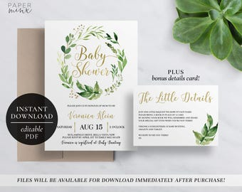 Printable Greenery Baby Shower Invitation | Editable Template | Leafy  Wreath Baby Shower Invitation | Leaves