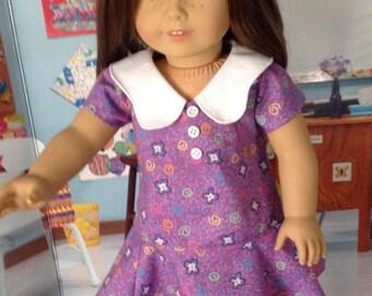 1970's purple dress, purple print dress, retro cotton dress, purple dress with white collar, large white collar, school dress, 70's  dress