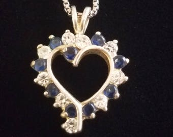 "CP042: 2.7gVintage  Solid Silver Blue and White Sone Heart Silhouette Sterling Pendant w/2.5g Solid Silver Box Chain 18"" Sterling Necklace"