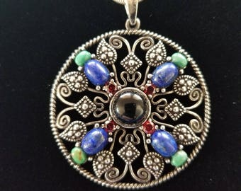 CP127 Vintage Sterling Silver Necklace with Large Sterling Silver Pendant with Multicolor Stones