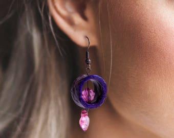 Pink heart tree branch earrings wooden earrings woodland earrings forest wedding botanical earrings pink love earrings nature lover earrings
