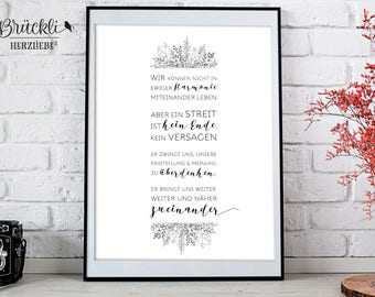 """A4 print / mural / poster / wall decoration / decoration / life wisdom """"Harmony/dispute"""""""