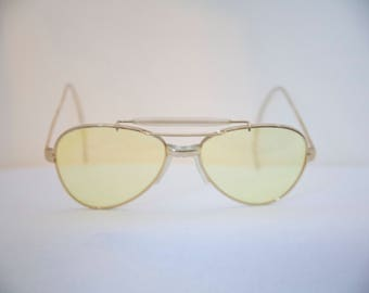 Imperial Optical Aviator Sunglasses Pilots Shooters/1950s 60s/Pale yellowlens