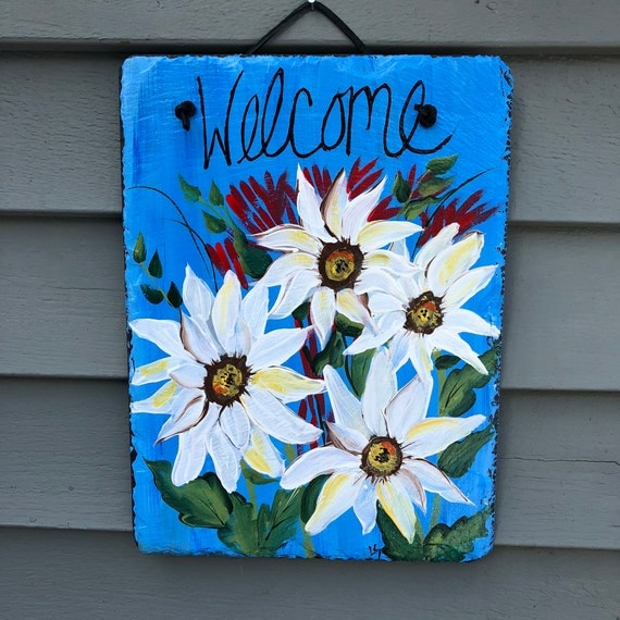 Spring welcome sign, Spring door hangers, Daisies welcome sign, Spring door decoration, Spring Welcome plaque, Outdoor spring decorations,