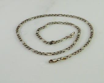 """Sterling Figaro Neck Chain 19"""""""