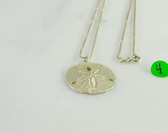 "Sand Dollar Pendant on 19"" Sterling Box Link Chain"