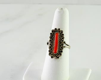 Sterling Coral Ring Size 6.75