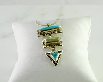 """Reserved Rachel Hoffman Signed Turquoise Pendant on a 23"""" Snake Chain All Sterling"""