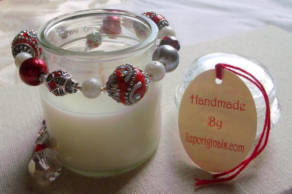 Red candle garland -  statement beads -  fire and ice - ring bling - table decorations - pillar- container-tin - house warming -holiday