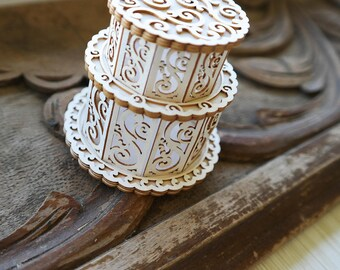 3D Cake Chipboard Die Cut, Lacy Wedding Cake, Paper Cake for Wedding Invitation, Laser Die Cut, Exploding Box Decor, 3D Cards