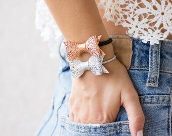 Two Elegant Hair Tie Bracelets, Silver Hair Tie Bracelet Cuff, Bronze Hair Ties Bracelet, Hair Tie Elastics, Elegant Bronze Bow Bracelet