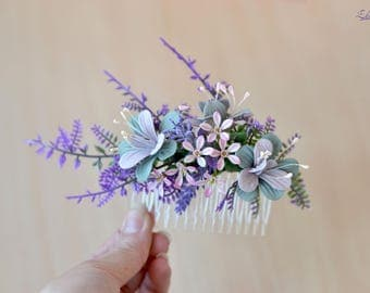 Floral comb Lilac hair comb Flowers hair back comb Bridal rustic head piece Wild flowers Wedding hair piece floral Bridesmaid comb Rustic