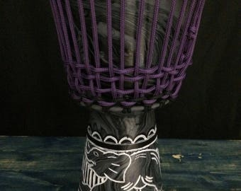 Travel Size Hand Painted Elephant Djembe Drum