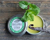 Vanilla Mint Lip Balm - Peppermint and Whole Vanilla Beans - Dry and chapped lip repair